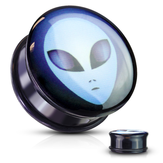 Plug - Alien Inlay Flesh Tunnel Acryl Piercing Ohrring Ohrpiercing Single Flared