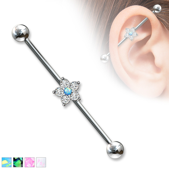 Industrial Piercing - Barbell Blume Ohrpiercing Zirkonia Scaffold 38mm Anhänger